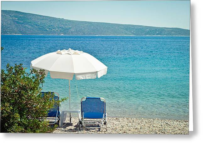 Beach Parasol Greeting Card by Tom Gowanlock