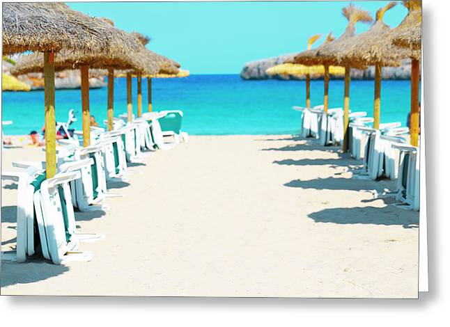 Beach Parasols And Loungers Greeting Card by Wladimir Bulgar