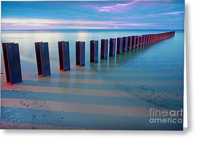 Beach Pylons At Sunset Greeting Card