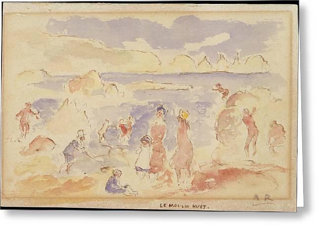 Beach Scene Greeting Card by Auguste Renoir