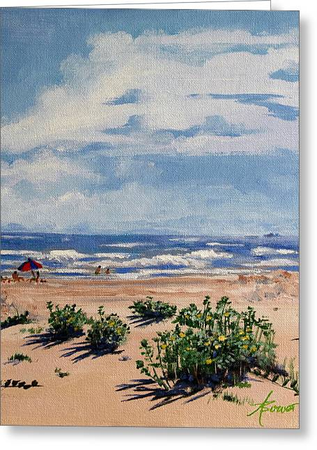 Beach Scene On Galveston Island Greeting Card