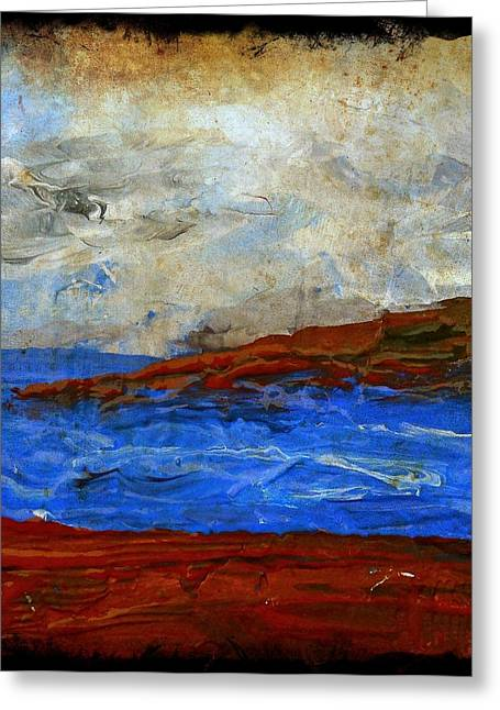 Beach Scene Painting Fine Art Print Greeting Card by Laura Carter