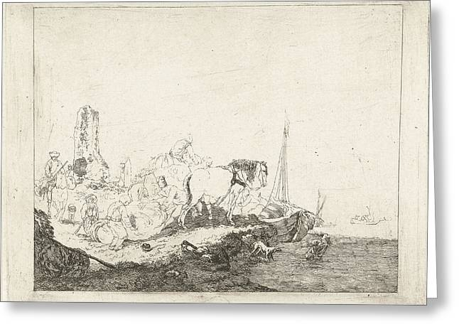 Beach Scene With Man And Dog In Water, Joannes Bemme Greeting Card by Joannes Bemme