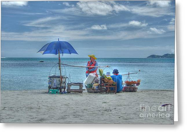 Beach Sellers Greeting Card by Michelle Meenawong