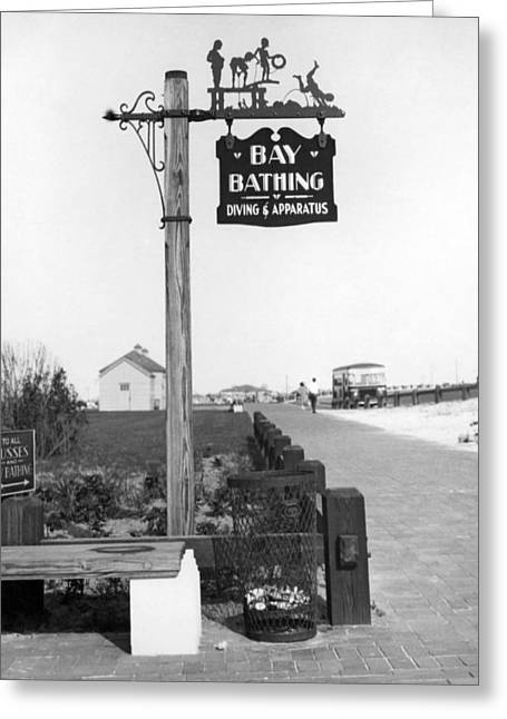 Beach Signs In New York Greeting Card by Underwood Archives