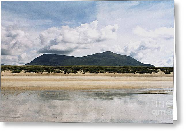 Greeting Card featuring the photograph Beach Sky And Mountains by Rebecca Harman
