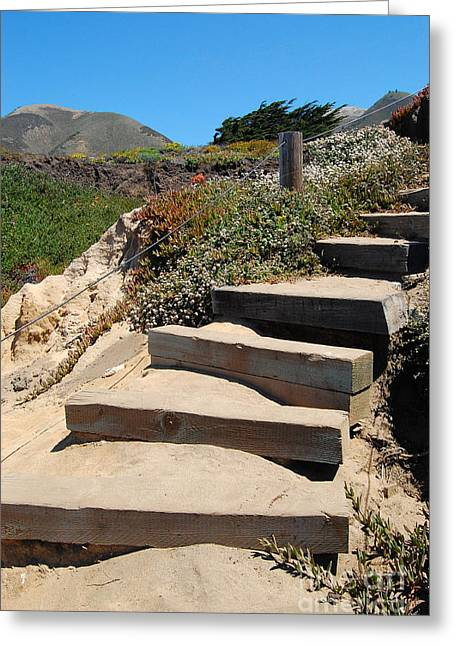 Greeting Card featuring the photograph Beach Stairs Big Sur by Debra Thompson