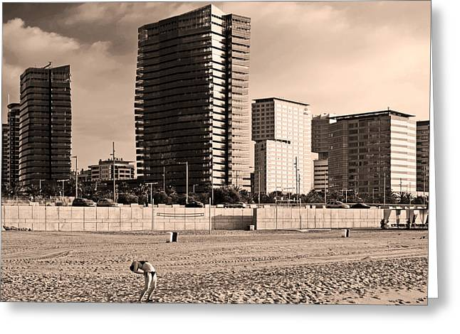 beach, Barcelona Greeting Card