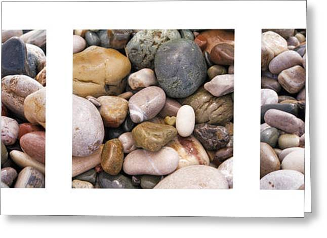 Beach Stones Triptych Greeting Card by Stelios Kleanthous
