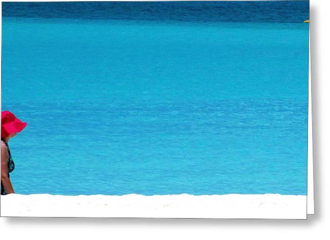Beach Strolling Greeting Card by Randall Weidner