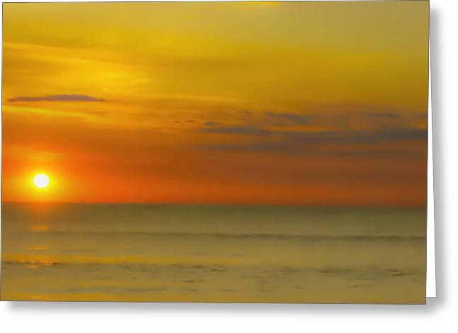 Beach Sunrise Birds Greeting Card