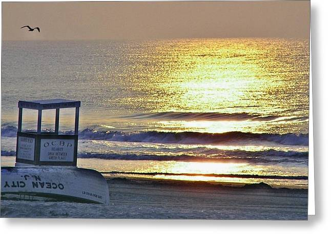 Beach Sunrise Greeting Card by John Wartman