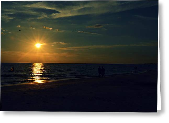 Beach Sunset Afternoon Walk Greeting Card