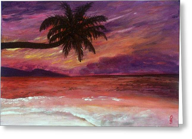 Beach Sunset Greeting Card by Debbie Baker