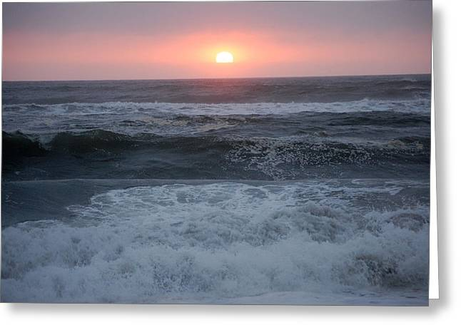 Beach Sunset Greeting Card by Holly Blunkall
