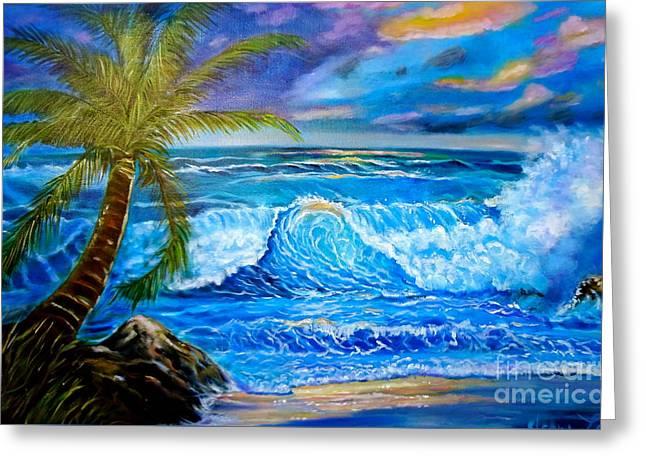 Beach Sunset In Hawaii Greeting Card