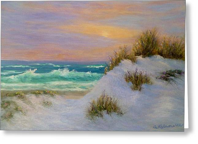 Beach Sunset Paintings Greeting Card