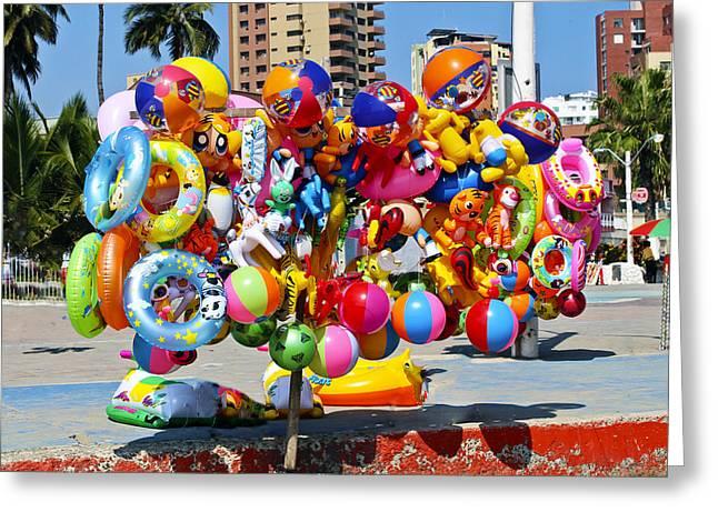 Beach Toys At Manta Beach Ecuador Greeting Card