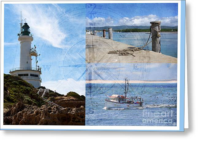 Beach Triptych 2 Greeting Card by Linda Lees