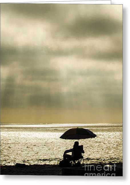 Beach Umbrella Greeting Card by Deborah Smolinske