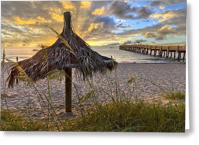 Beach Umbrella Greeting Card by Debra and Dave Vanderlaan
