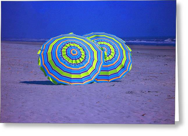 Beach Umbrellas By Jan Marvin Studios Greeting Card