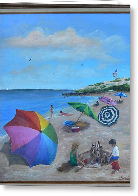 Greeting Card featuring the painting Beach Umbrellas by Catherine Hamill