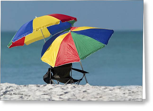Beach Umbrellas Greeting Card by Gerald Marella