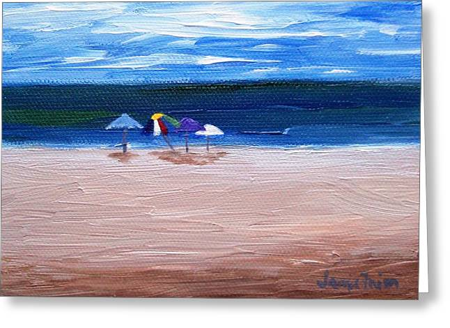 Greeting Card featuring the painting Beach Umbrellas by Jamie Frier