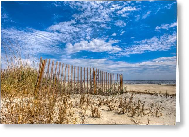 Beach Under Blue Skies Greeting Card by Debra and Dave Vanderlaan