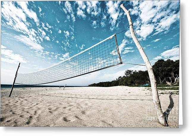 Beach Volleyball Net Greeting Card
