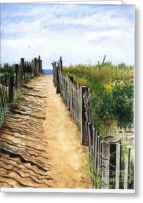 Beach Walk Greeting Card by Barbara Jewell