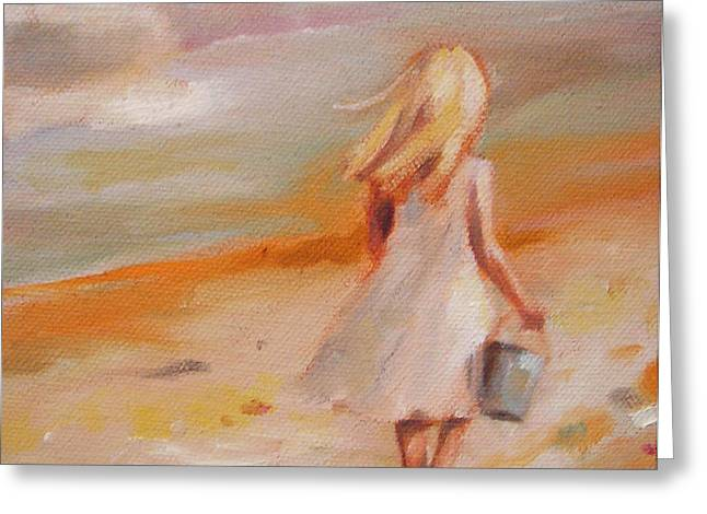 Beach Walk Girl Greeting Card