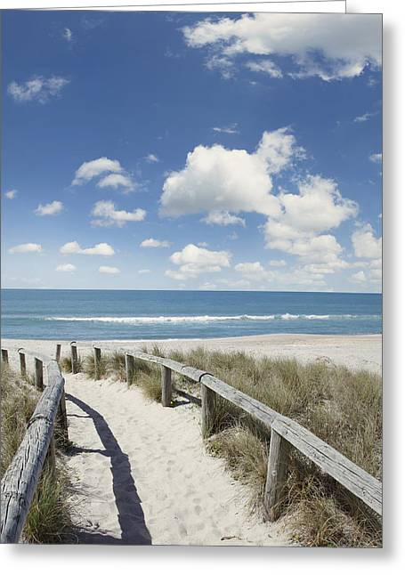 Beach Walk Greeting Card by Les Cunliffe