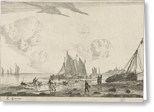 Beach With A Sailing Ship Drawn On The Sand Greeting Card