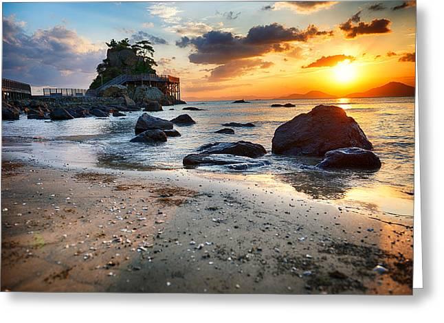 Beach With Rocks Greeting Card