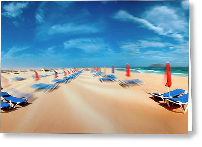 Beach With Sunloungers Greeting Card by Wladimir Bulgar