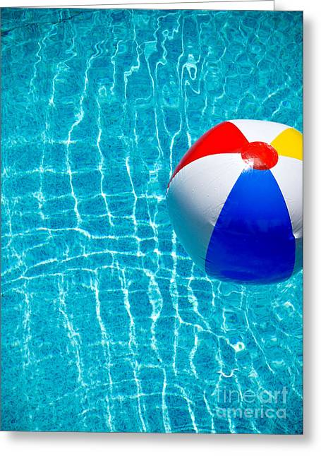 Beachball On Pool Greeting Card by Amy Cicconi