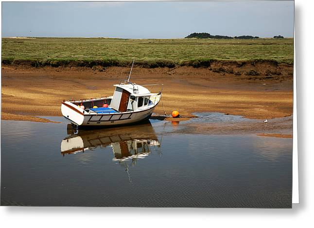 Beached Boat In River Estuary Greeting Card