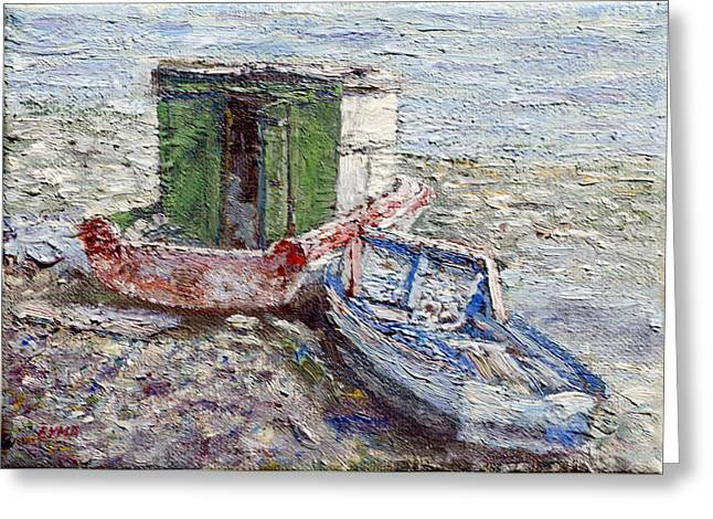 Beached Boats Greeting Card