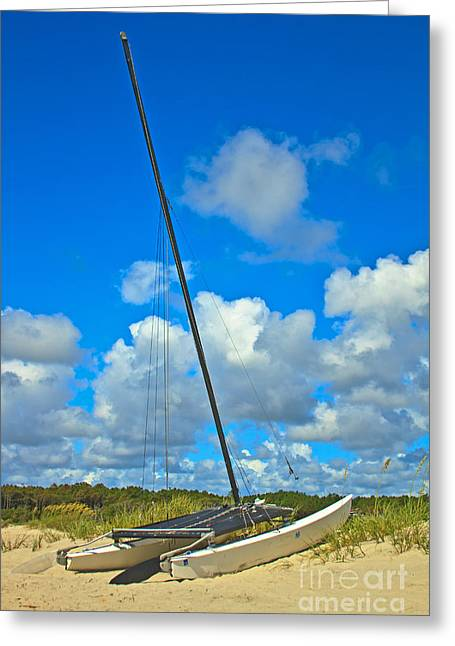 Beached Catamaran  Greeting Card