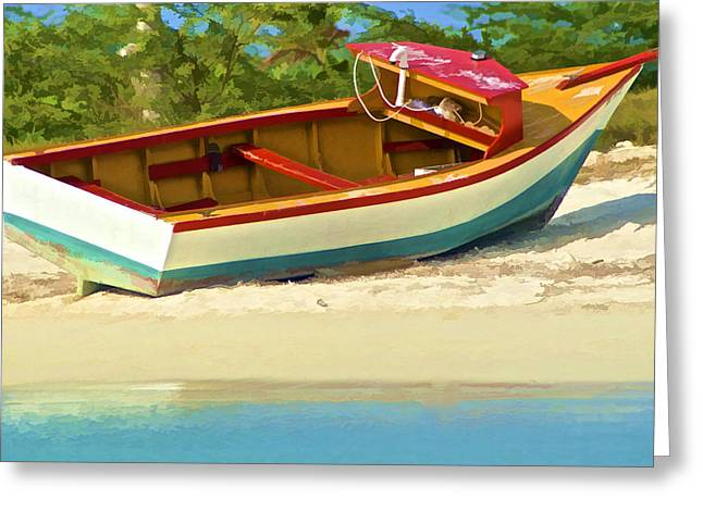 Beached Fishing Boat Of The Caribbean Greeting Card