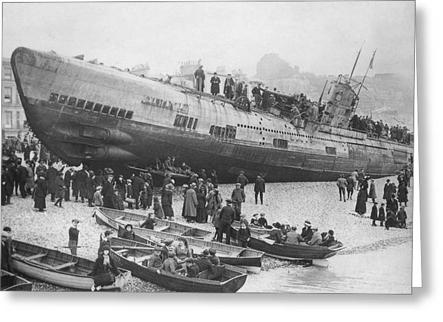 Beached German Submarine Greeting Card