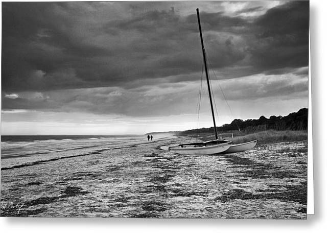 Beached In Black And White Greeting Card