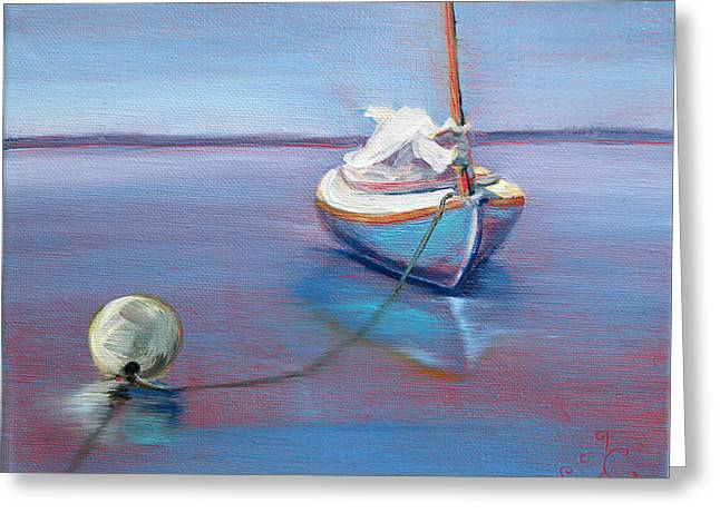 Beached Sailboat At Mooring Greeting Card