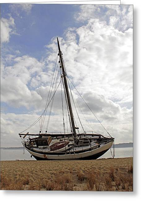 Beached Sailboat Greeting Card