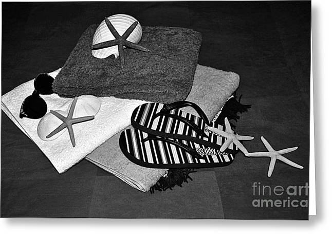 Beachy Things - Black And White Greeting Card