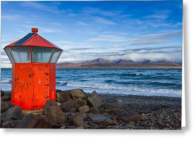 Beacon At Hvaleyrarviti In Iceland Greeting Card by Andres Leon