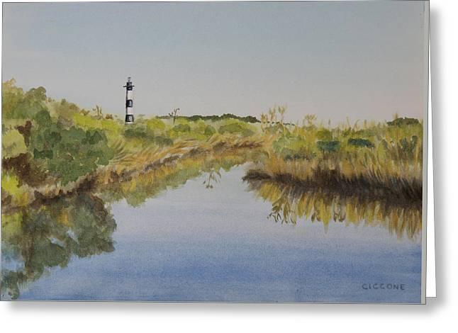 Beacon On The Marsh Greeting Card