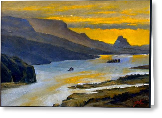 Beacon Rock From Oregon Side Greeting Card
